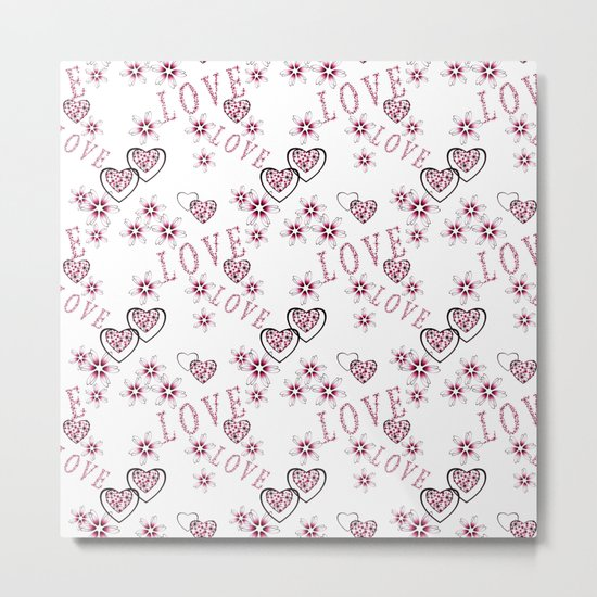 Openwork pattern with hearts. Metal Print