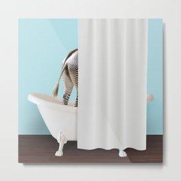 Zebra hiding in bathtub Metal Print