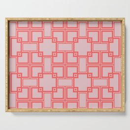 Simple geometric pattern dar red and light red colors Serving Tray