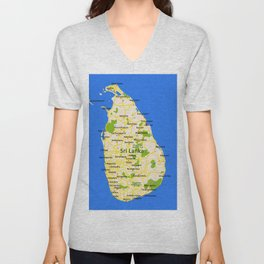 Sri Lanka Map Design Unisex V-Neck