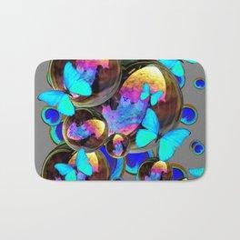 BLUE & GOLD  BUBBLES BLUE BUTTERFLIES PEACOCK EYES Bath Mat