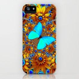 BLUE & GOLD ART DECO BUTTERFLIES & FLOWERS VIGNETTE iPhone Case