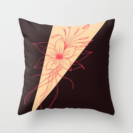 Modern Peach, Coral, and Black Floral Triangles Throw Pillow