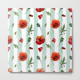 Poppy and Stripes Metal Print