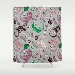 Pink lizards Shower Curtain