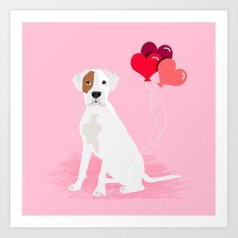 Boxer dog white brown spot lover valentines day heart balloons must have gifts for Boxers Art Print
