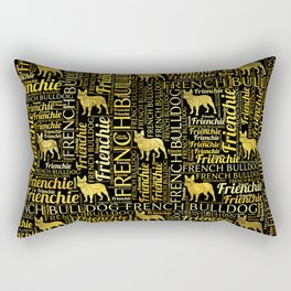 French Bulldog silhouette and word art pattern Rectangular Pillow