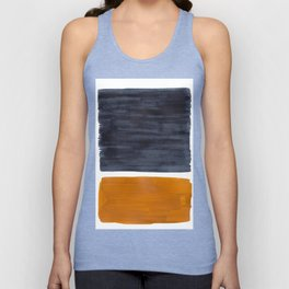 Minimalist Mid Century Modern Colorful Color Field Rothko Navy Blue Yellow Ochre Unisex Tank Top