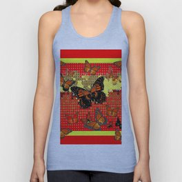 Red Abstracted Black & Orange Monarch Buttterflies Unisex Tank Top