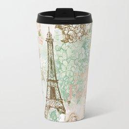 I love Paris- Vintage Shabby Chic - Eiffeltower France Flowers Floral Travel Mug