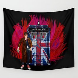 British Phone box with 10th Doctor Wall Tapestry