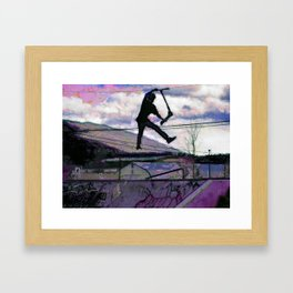Deck Grab Champion - Stunt Scooter Art Framed Art Print