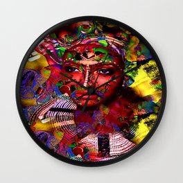 The mask of colour 7 Wall Clock