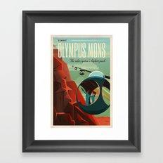 Vintage Adventure Travel Olympus Mons Framed Art Print