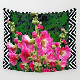 Fuchsia Pink Rose Color Holly Hocks Pattern Floral Art Wall Tapestry