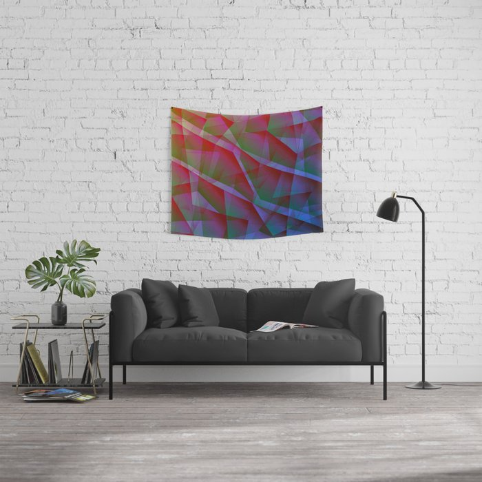 Bright contrasting fragments of crystals on irregularly shaped green and pink triangles. Wall Tapestry