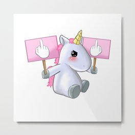 Unicorn Fuck Off You Piss Middle Finger Bad Badass Gift Metal Print
