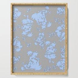 Pale Blue Floral Pattern on Medium Grey Burlap Texture Vector Art Serving Tray