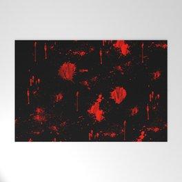 Red Paint / Blood splatter on black Welcome Mat