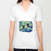 fairies V-neck T-shirts featuring Moon Fairies by haroulita