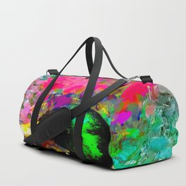 mallard duck with pink green brown purple yellow painting abstract background Duffle Bag