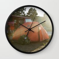 camping Wall Clocks featuring Camping by Cameron Gardner