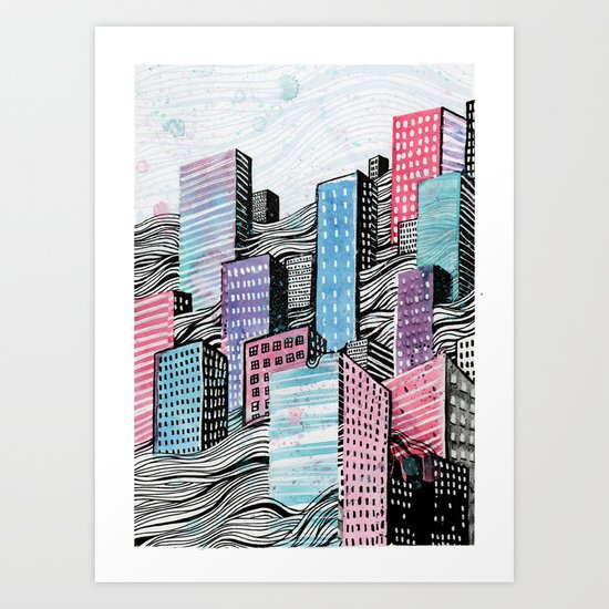 Melted City Art Print