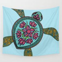 turtle Wall Tapestries featuring Turtle by Two Legged Monster Boutique