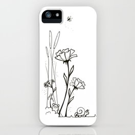 Doodle flowers kawaii kitty design  iPhone Case