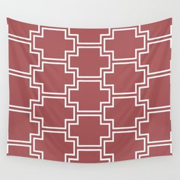 Red and White Tessellation Line Pattern 2 2022 Color Trends Behr Lingonberry Punch M150-6 Wall Tapestry