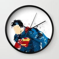 man of steel Wall Clocks featuring Man of Steel by ALmighty1080