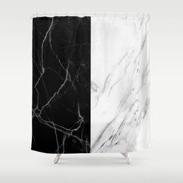 black and white marble Shower Curtain
