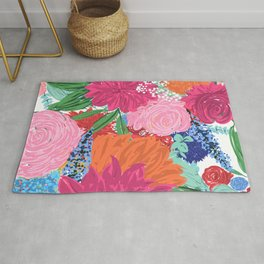 Pretty Colorful Big Flowers Hand Paint Design Rug