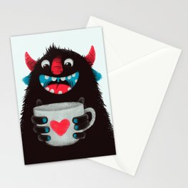 Demon with a cup of coffee (contrast) Stationery Cards