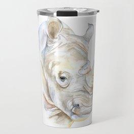 Rhino Watercolor Travel Mug