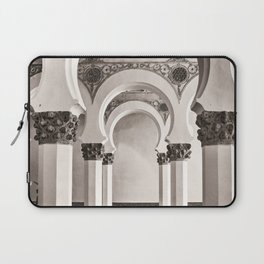The Historic Arches in the Synagogue of Santa María la Blanca, Toledo Spain Laptop Sleeve