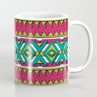aztec Mugs featuring Aztec by Shelly Bremmer