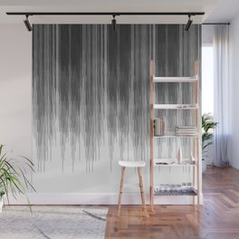 Black and Grey Paint Drips on White Wall Mural