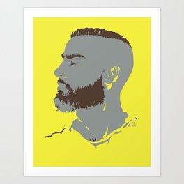 Bearded Man I - Yellow Art Print