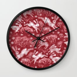 Hares Field, Jumping Rabbits Winter Holidays Pattern, Red White Wall Clock
