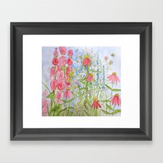 Watercolor Garden Flowers Summer Botanical Illustration  Framed Art Print