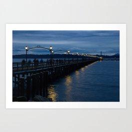 White Rock Pier at Blue Hour Art Print