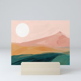 pink, green, gold moon watercolor mountains Mini Art Print