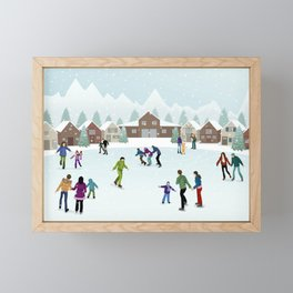 People Skating on the Ice Rink During Winter Framed Mini Art Print