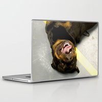 rottweiler Laptop & iPad Skins featuring Happy Rottweiler by Ann Yoo
