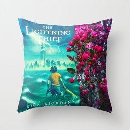 Percy Jackson & the Cherry Blossom Tree Throw Pillow