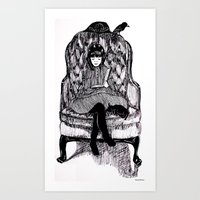 reading Art Prints featuring Reading by Rachael Withers