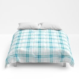Turquoise blue watercolor check Comforters