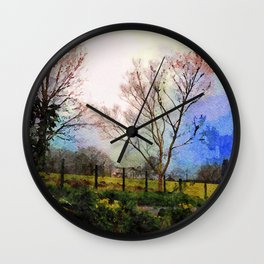 Illuminated Farmhouse and Trees Grasmere, Lake District, England Wall Clock