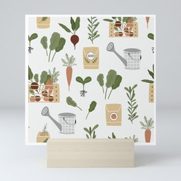 Botanical Gardening Pattern Pots And Plants Mini Art Print